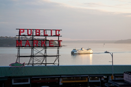 Pike Place Market with Ferry & Elliott Bay - credit Howard Frisk