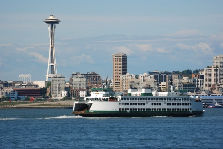 Space Needle & Ferry from Elliott Bay - credit Howard Frisk